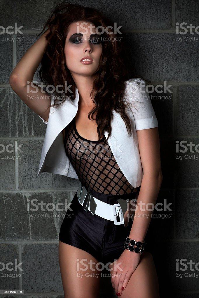 Beautiful, Sexy Young Woman Fashion Model as Rock Star stock photo