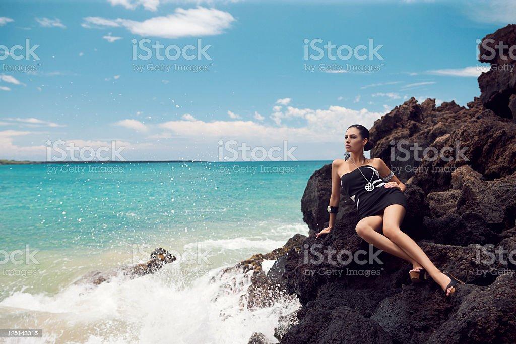 Beautiful Sexy Young Woman Fashion Model on Maui Beach, Copyspace royalty-free stock photo
