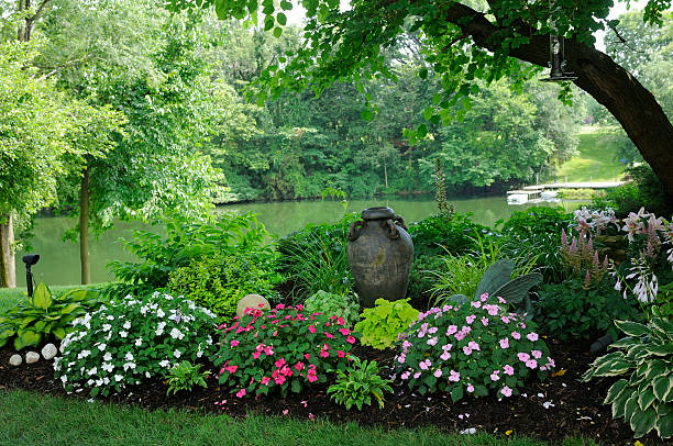 Beautiful Shade Garden by the Water stock photo