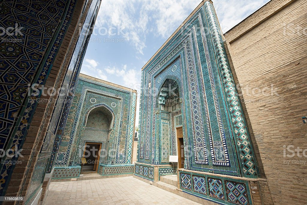 Beautiful Shah-I-Zinda Mausoleums in Samarkand, Uzbekistan stock photo