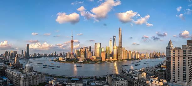 Schöne Shanghai bei Sonnenuntergang Luftaufnahme – Foto