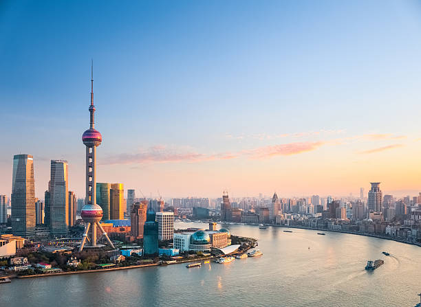 beautiful shanghai in sunset beautiful shanghai in sunset, one of the most attractive cities in China shanghai stock pictures, royalty-free photos & images