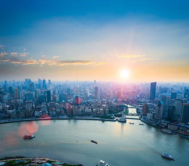 Schöne shanghai bei Sonnenuntergang – Foto