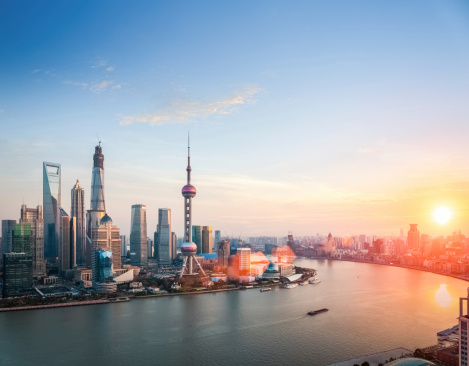 beautiful shanghai  in sunset