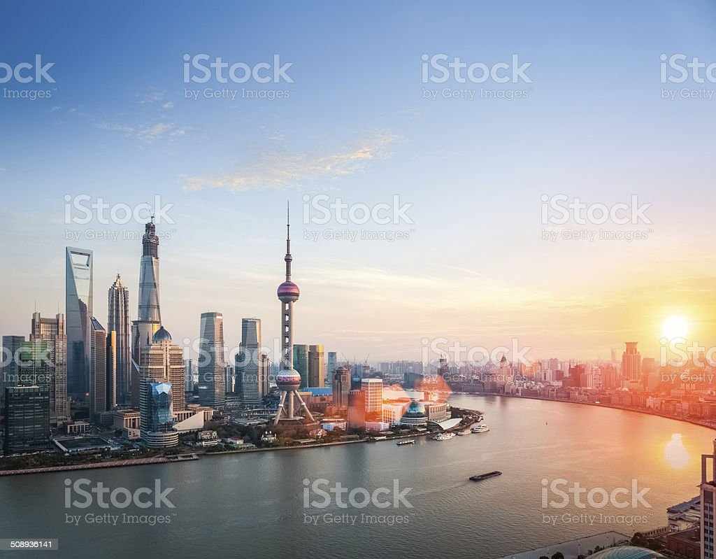 beautiful shanghai  in sunset stock photo