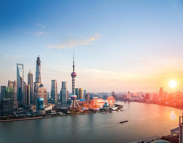 beautiful shanghai  in sunset stock photo