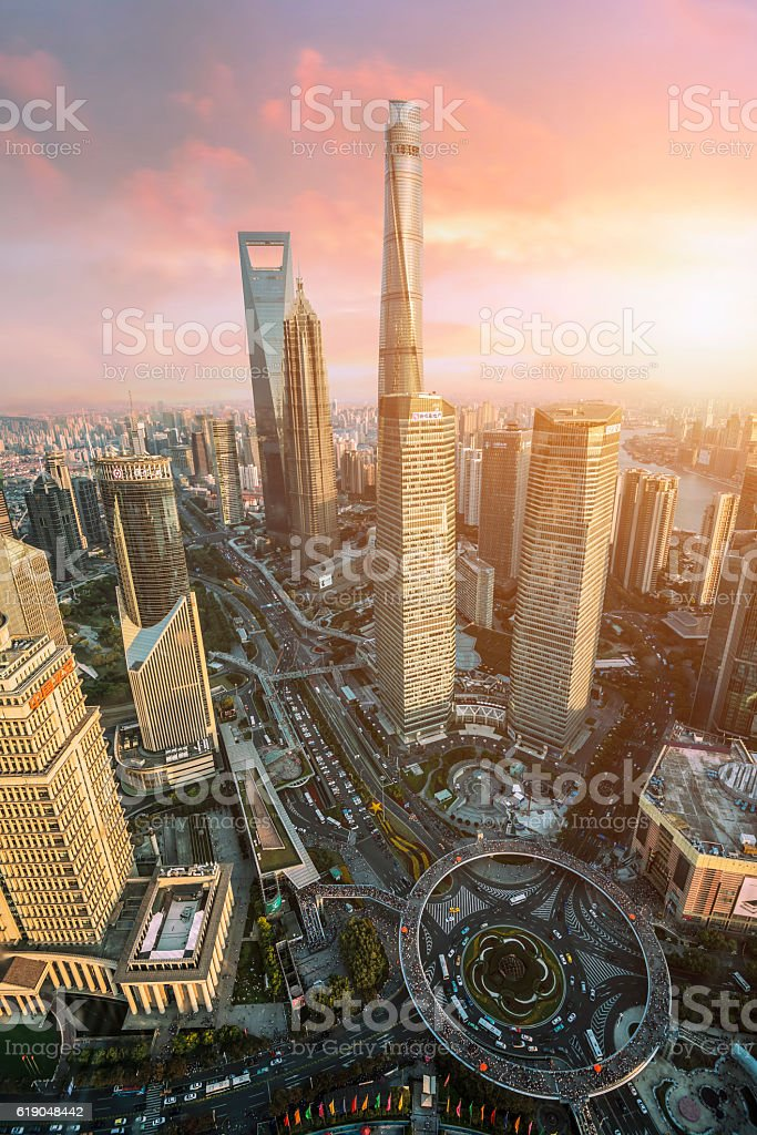 Beautiful Shanghai Pudong skyline  in Shanghai, China – Foto