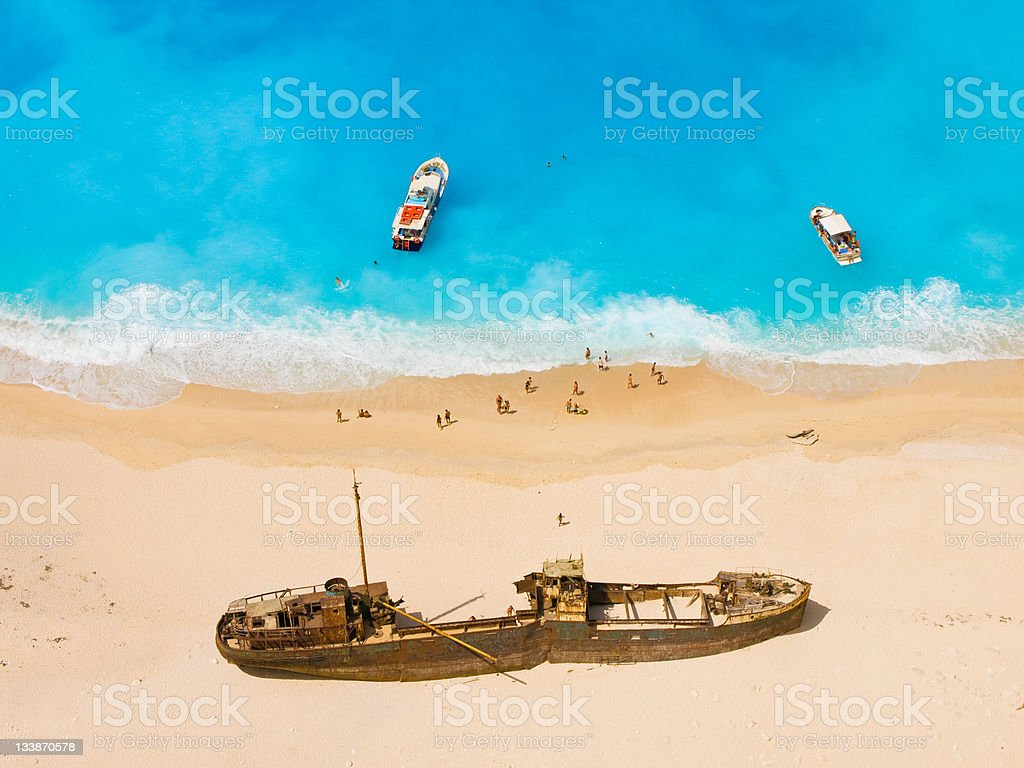 Beautiful shipwreck beach stock photo
