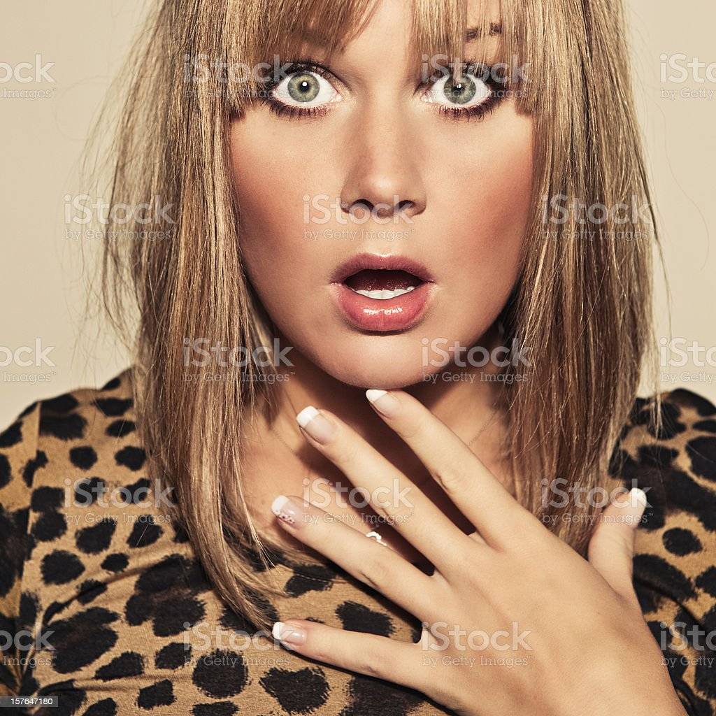 beautiful shocked young woman stock photo