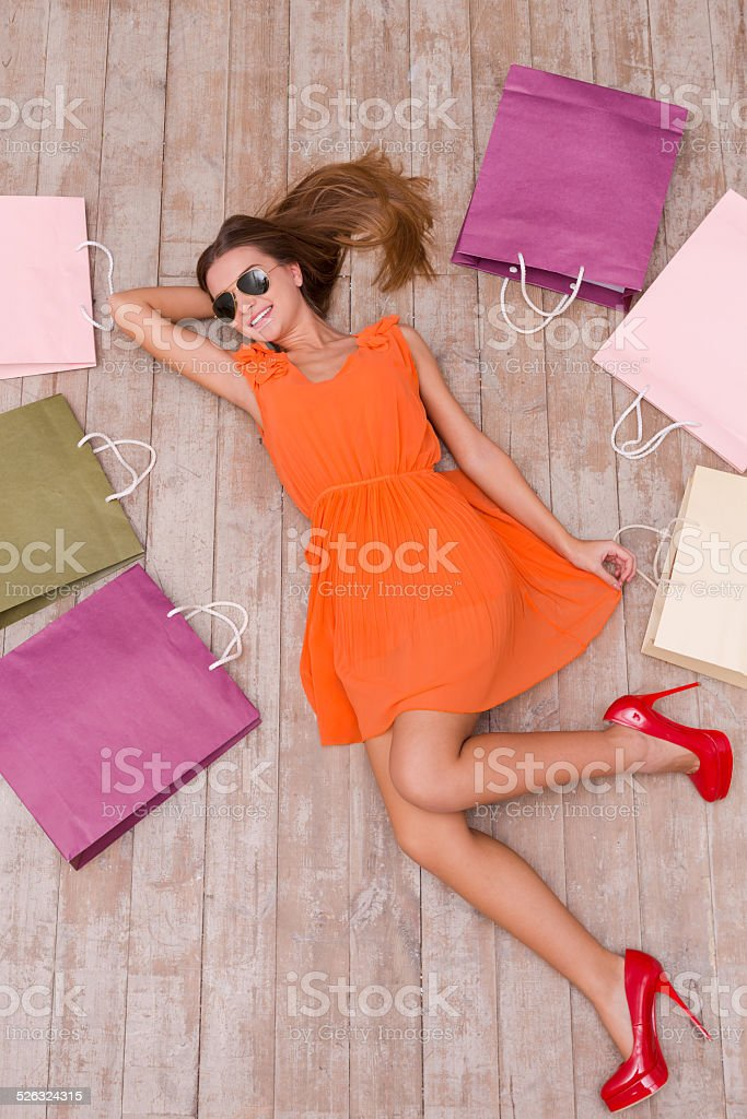 Beautiful shopaholic. stock photo