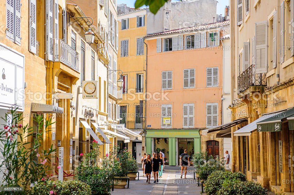 Beautiful shopping area Provence with tourists shopping stock photo