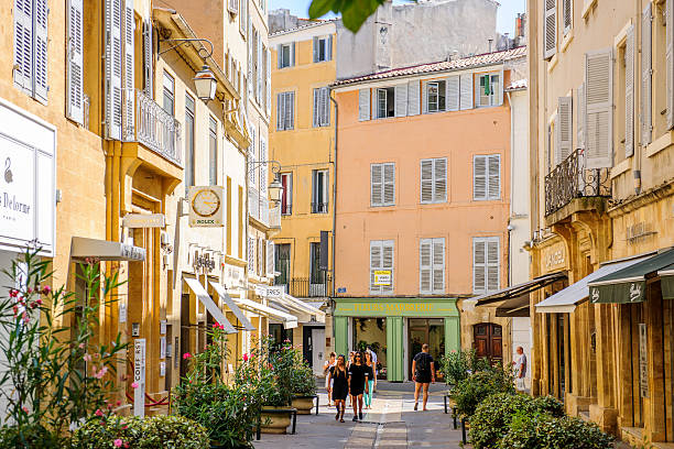 Beautiful shopping area Provence with tourists shopping