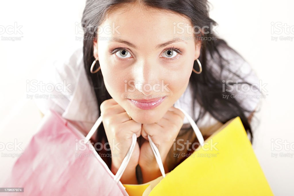 Beautiful shopping woman happy holding bags royalty-free stock photo