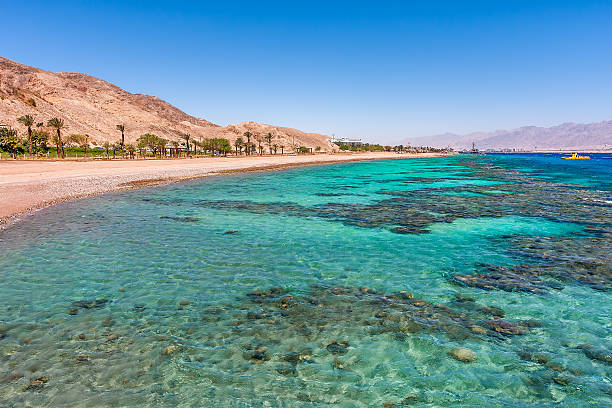 Beautiful shoreline in Eilat, Israel. stock photo