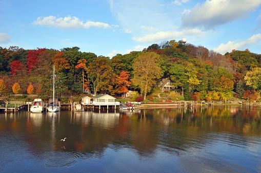 Beautiful Shoreline with Fall Leaf Colors-Saugatuck Michigan