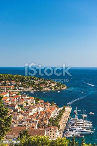 Beautiful shot overlooking Hvar, Croatia