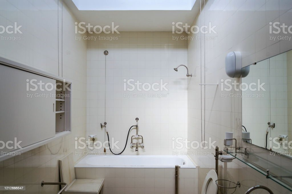 Beautiful Shower Bath Tub In Modern Functionalism Bathroom White Tile Design Wall Stock Photo Download Image Now Istock