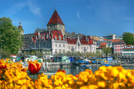 A beautiful sight of Chateau d'Ouchy, Lausanne, Switzerland