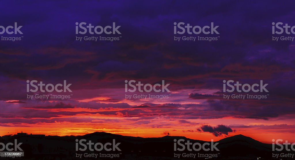 Beautiful Silhouette sunset above tropical forest royalty-free stock photo