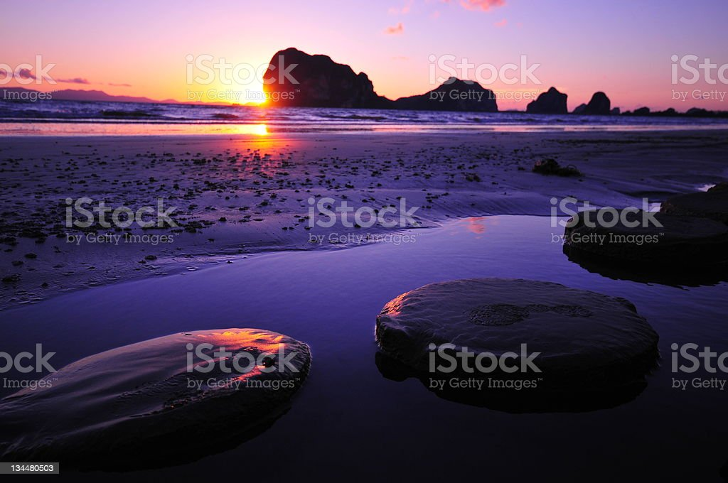 beautiful silhouette sunset at tropical sea royalty-free stock photo