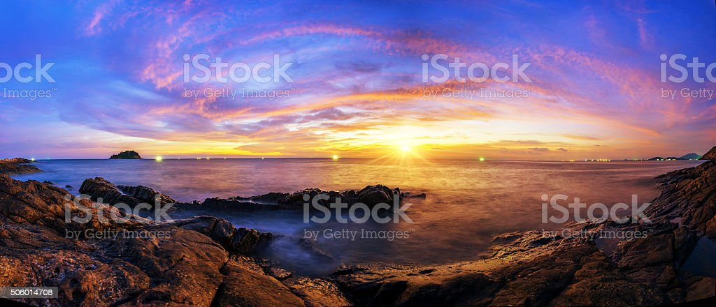 Beautiful silhouette sunset at tropical sea stock photo