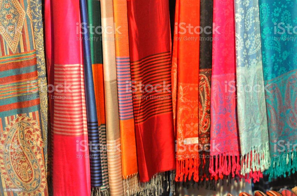 beautiful silk and cotton scarfs stock photo