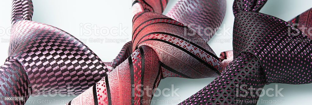 beautiful silk ties on the table stock photo