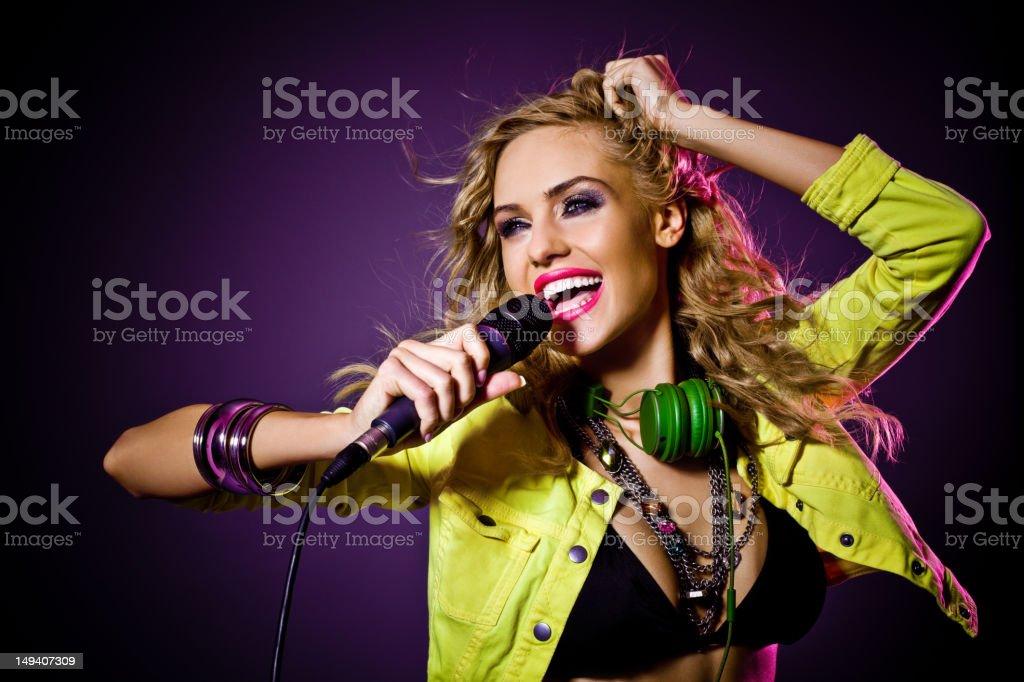 Beautiful singer royalty-free stock photo