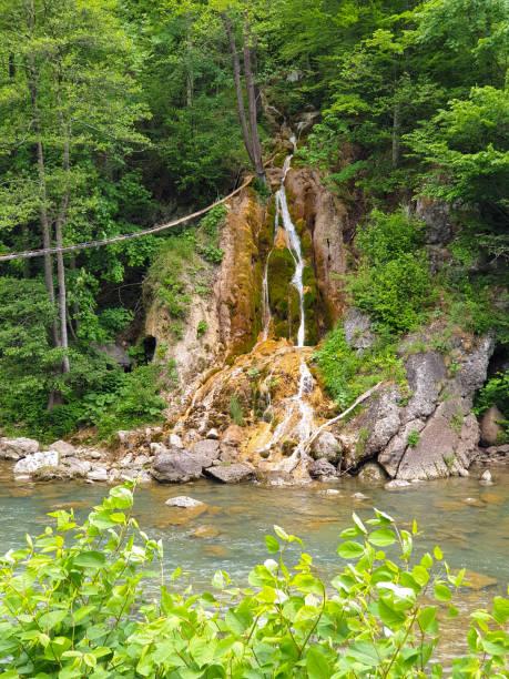 Beautiful Sipote waterfall in Transylvania Romania stock photo