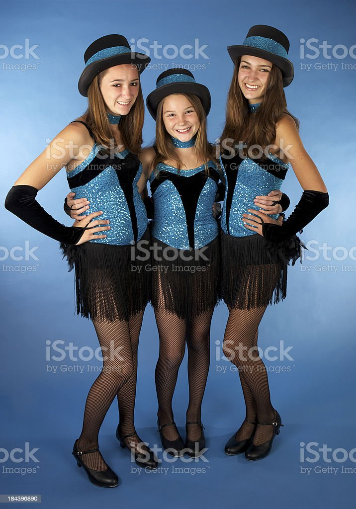 Beautiful Sisters in their Jazz Dance Costumes royalty-free stock photo