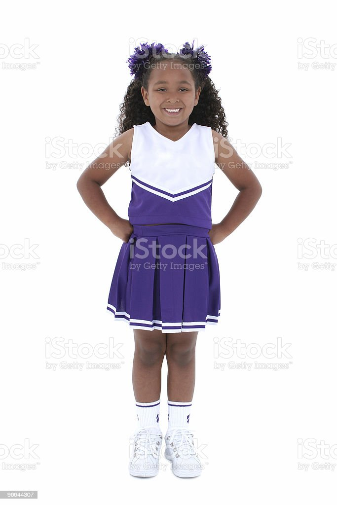 Beautiful Six Year Old Cheerleader Over White royalty-free stock photo