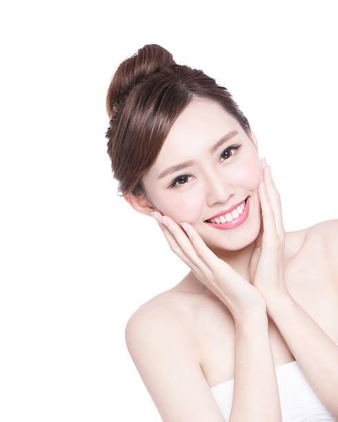 beautiful Skin care woman Face stock photo