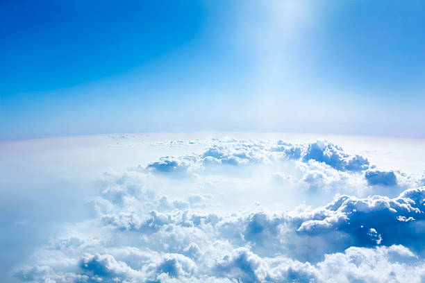 beautiful sky and above cloud panorama from the airplane. - stratosphere stock pictures, royalty-free photos & images