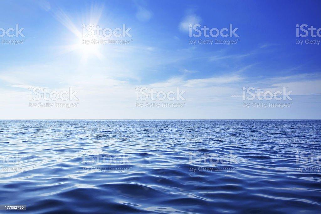 Beautiful sky and blue ocean stock photo