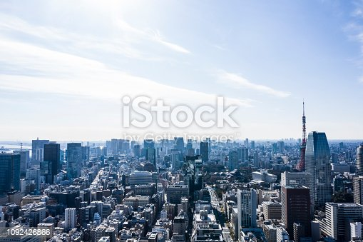 Urban landscape with many buildings