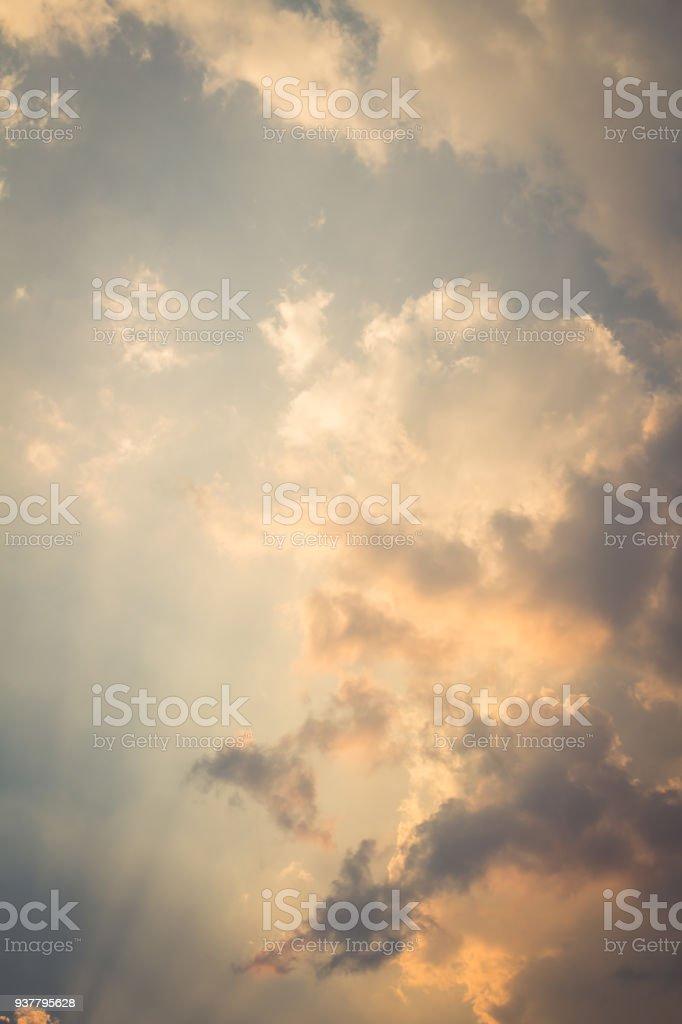 Beautiful sky evening Golden cloud Suset stock photo