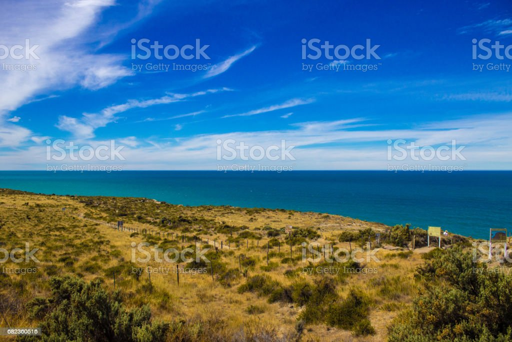 Beautiful sky in the landscape of Peninsula Valdes in Patagonia Argentina - South America. zbiór zdjęć royalty-free