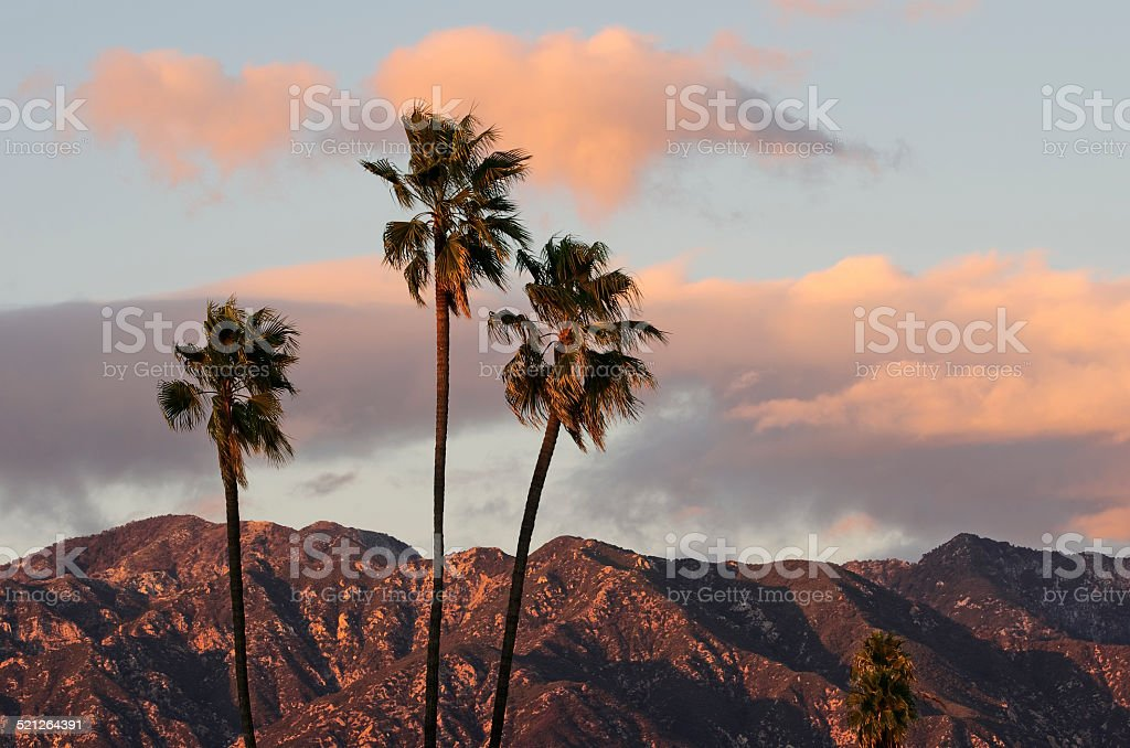 Beautiful Sky Over the San Gabriel Mountains in Southern California stock photo