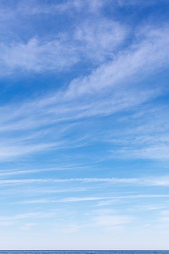 A stitched panorama of high level cloud on a vibrant blue sky.
