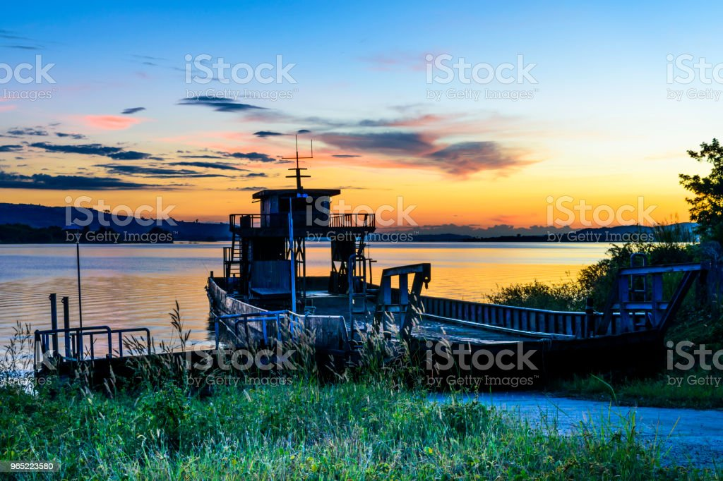 Beautiful sky with old ship royalty-free stock photo