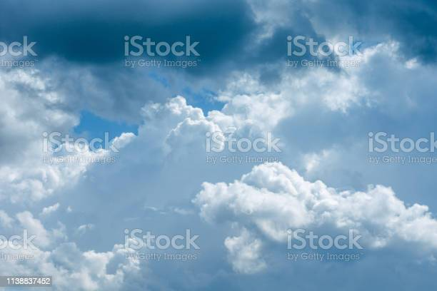 Photo of Beautiful sky with white and gray clouds in sunlight