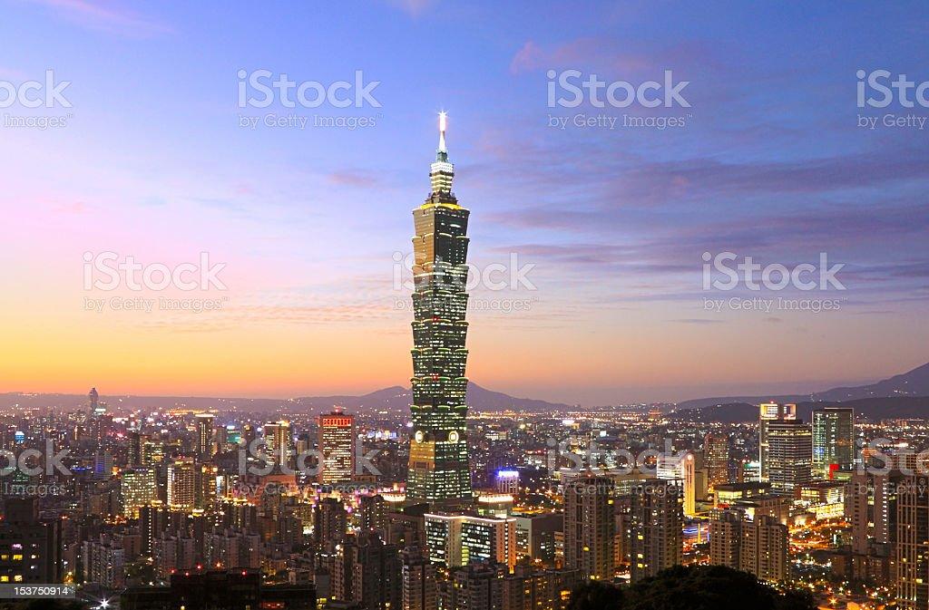 Beautiful skyline view of Taipei city stock photo