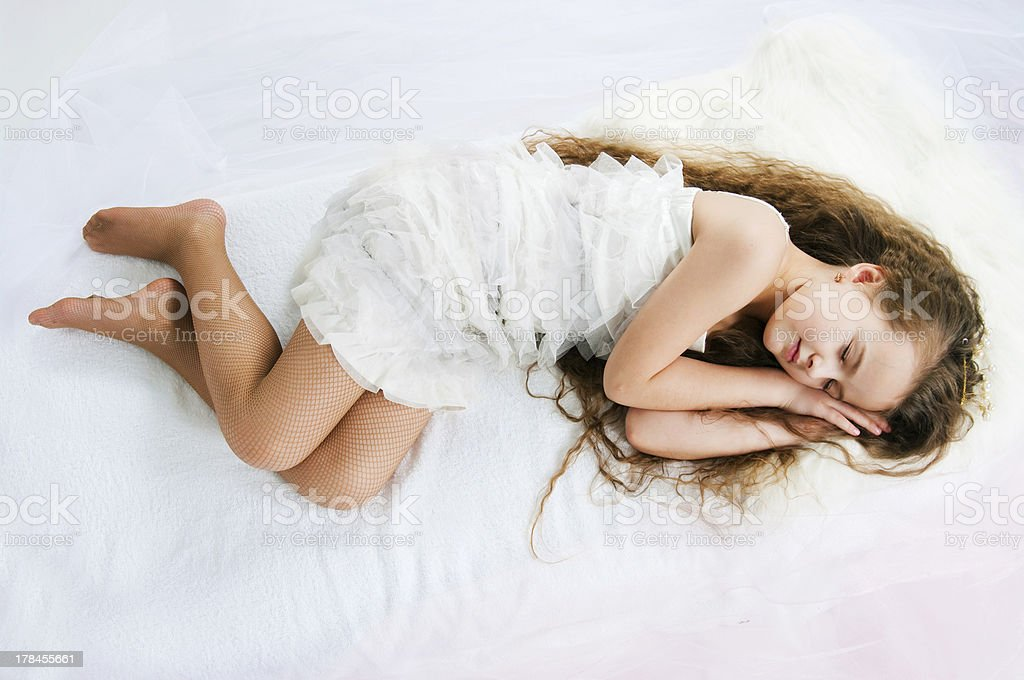 beautiful sleeping girl stock photo
