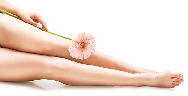 schöne schlanke weibliche beine mit blume-stock-bilder - wachsblume stock-fotos und bilder