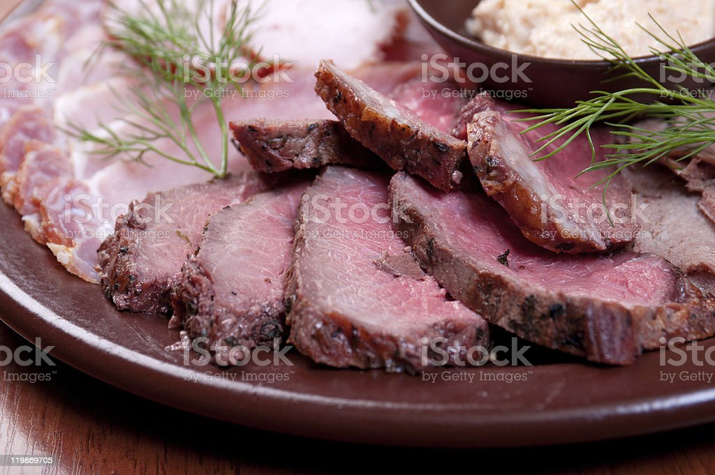 Beautiful sliced food arrangement. royalty-free stock photo