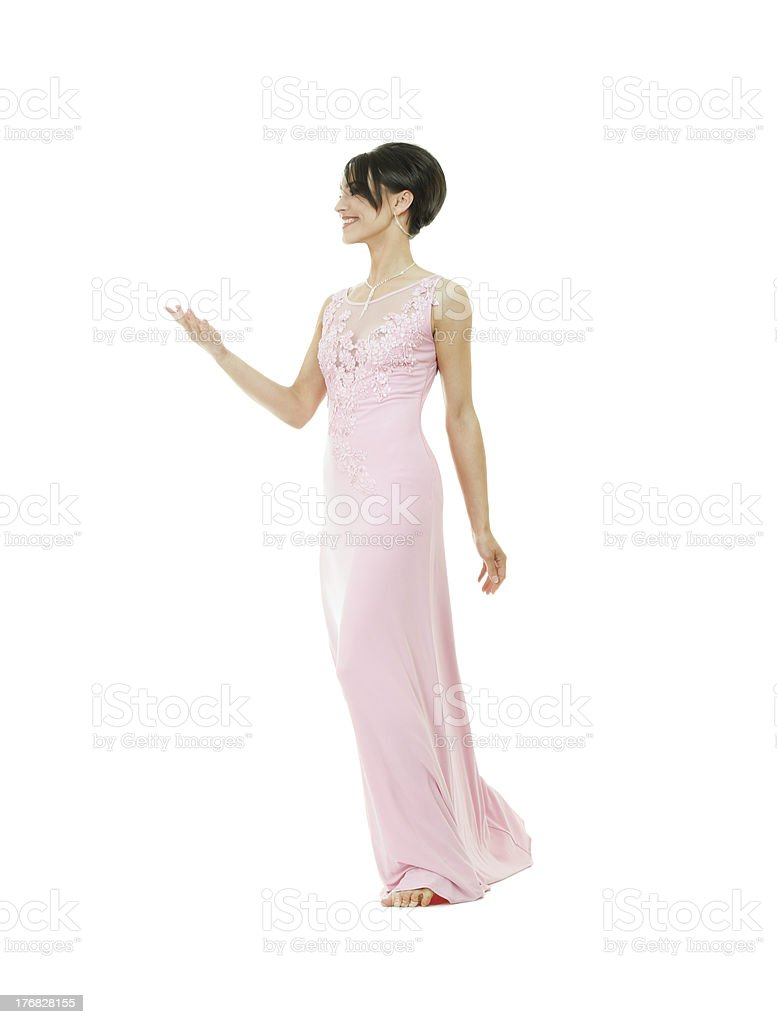 Beautiful slim woman holding anything on hand stock photo