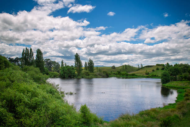 Beautiful small lake and green hills in New Zealand stock photo