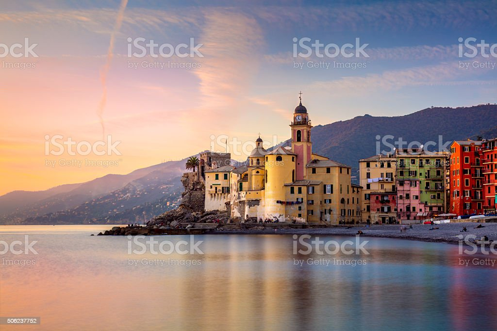 Beautiful Small Mediterranean Town at the sunrise stock photo