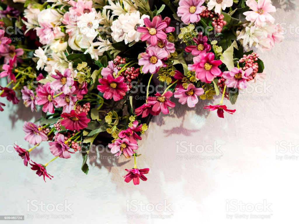 Beautiful Small Pink Purple And White Spring Flowers With Green
