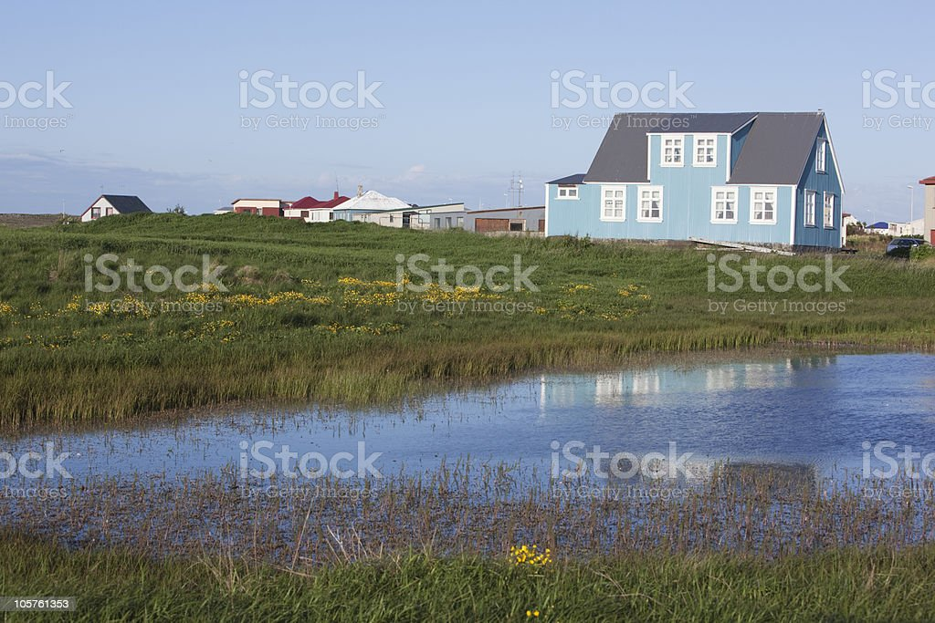 Beautiful small town in Iceland ( Sandgerdi ) stock photo